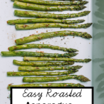 white baking dish with a roasted asparagus