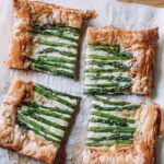 Spring Asparagus Tart on white parchment paper