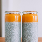 2 jars filled with nectarine chia pudding