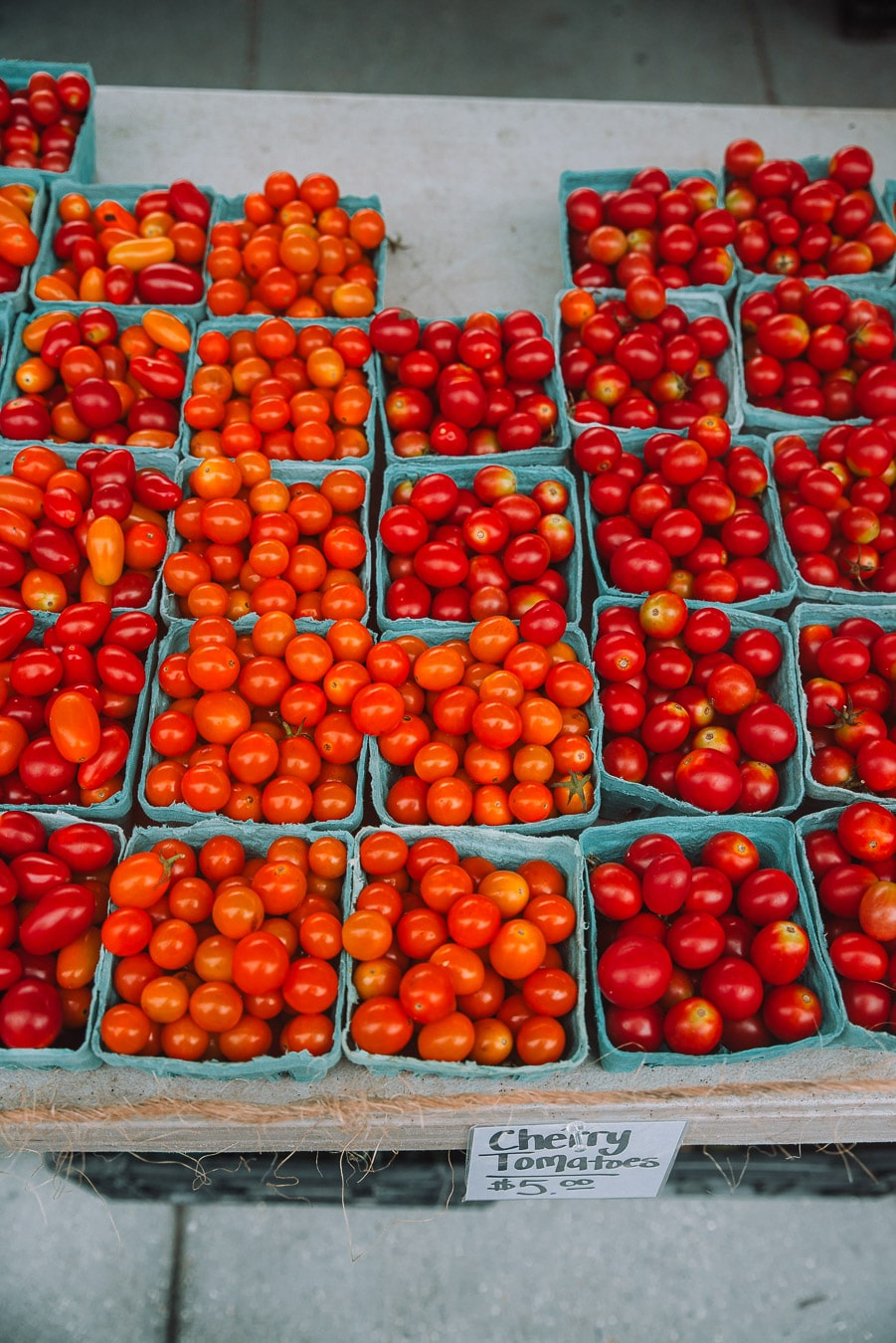 Cherry tomatoes on display at the farmers market